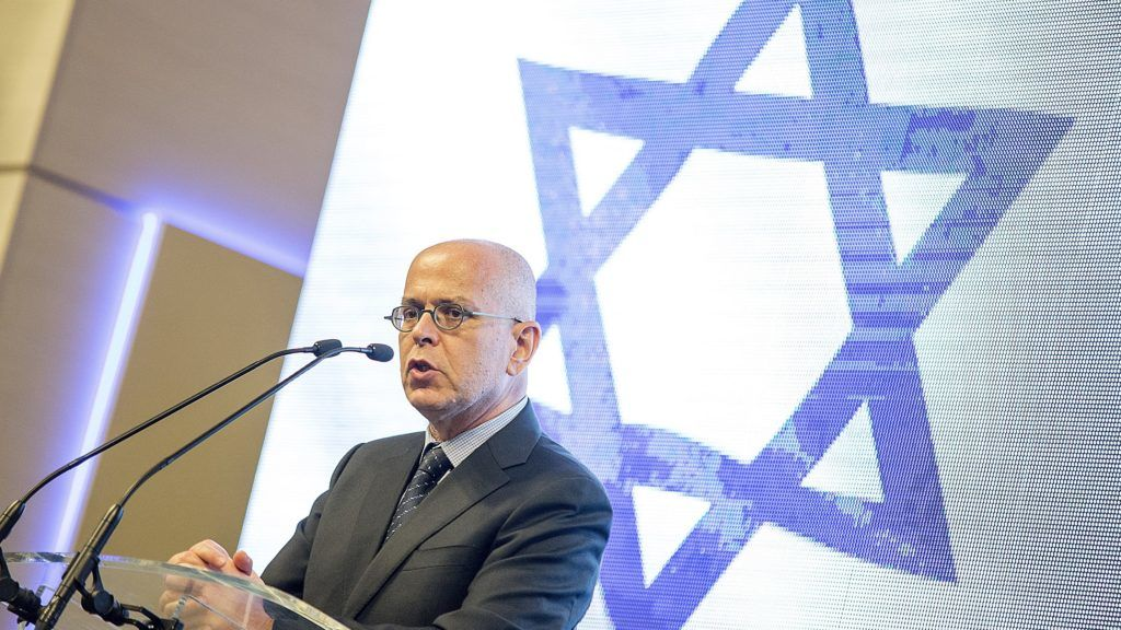 Gyõr, 2018. június 14. Jószéf Amrani, Izrael budapesti nagykövete beszédet mond az Izrael Állam megalapításának 70. évfordulója alkalmából tartott ünnepségen a gyõri Salamon teremben 2018. június 14-én. MTI Fotó: Krizsán Csaba