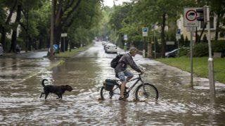 Budapest, 2018. május 12. Egy kerékpáros kutyájával a II. kerületben, a vízzel borított Gábor Áron utcán 2018. május 12-én. MTI Fotó: Mohai Balázs