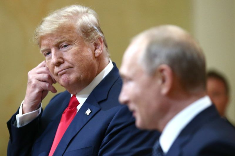 HELSINKI, FINLAND  JULY 16, 2018: US President Donald Trump (L) and Russia's President Vladimir Putin give a joint news conference following their meeting at the Presidential Palace. Valery Sharifulin/TASS (Photo by Valery SharifulinTASS via Getty Images)