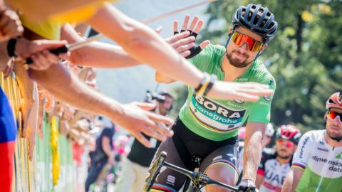 ALBERTVILLE, FRANCE - JULY 18: Peter Sagan of team BORA with the green jersey during the stage 11 of the Tour de France 2018 on July 18, 2018 in Albertville, France. (Photo by James Startt/Agence Zoom/Getty Images)
