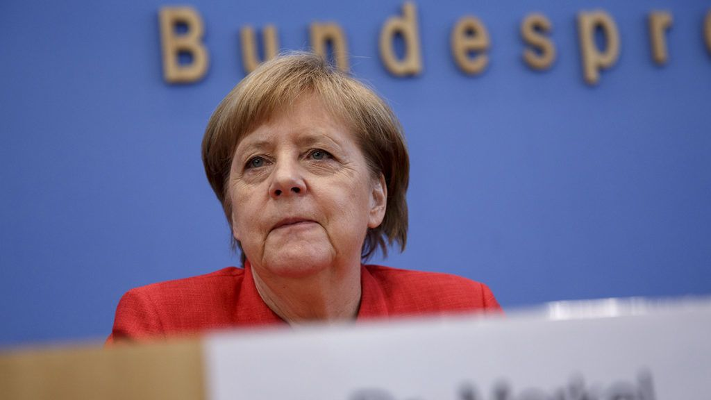 BERLIN, GERMANY - JULY 20: German Chancellor Angela Merkelduring a press conference on current topics on July 20, 2018 in Berlin, Germany. Merkel recently returned from visiting various people across Germany, including a care-giver for the elderly, a teenager with Down Syndrome and a family that owns a dairy farm, who had invited her during her election campaign tour last year. (Photo by Carsten Koall/Getty Images)