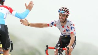 SAINT-LARY-SOULAN, FRANCE - JULY 25: Julian Alaphilippe of France and Quick Step Floors finishing stage 17 of Le Tour de France 2018 between Bagneres-de-Luchon and Saint-Lary-Soulan, Col du Portet (65 km) on July 25, 2018 in Saint Lary Soulan, France. (Photo by Jean Catuffe/Getty Images)