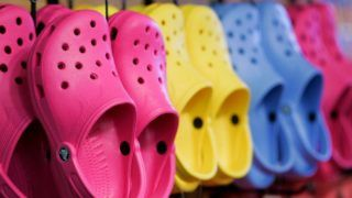 """CAMBRIDGE, MA - DECEMBER 27: These are """"Crocs"""" shoes for $29.99. Whole Foods is launching a new clothing area near the florist section of the grocery store. (Photo by Dina Rudick/The Boston Globe via Getty Images)"""