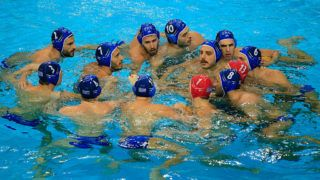 BELGRADE, SERBIA - JANUARY 17: Waterpolo Men's team of Greece prepare for their match prior the Men's eighth final round match between Romania and Greece at the Waterpolo European Championships in Belgrade Kombank Arena on January 17, 2016 in Belgrade, Serbia.  (Photo by Srdjan Stevanovic/Getty Images)