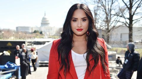 WASHINGTON, DC - MARCH 24:  Demi Lovato attends March For Our Lives on March 24, 2018 in Washington, DC.  (Photo by Kevin Mazur/Getty Images for March For Our Lives)