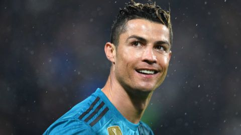 TURIN, ITALY - APRIL 3: Cristiano Ronaldo of Real Madrid celebrates scoring the opening goal during the UEFA Champions League Quarter Final first leg between Juventus and Real Madrid at Allianz Stadium on April 3, 2018 in Turin, Italy. (Photo by Etsuo Hara/Getty Images)