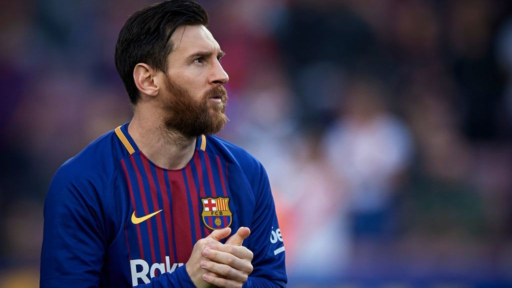 BARCELONA, SPAIN - MAY 09:  Lionel Messi of Barcelona looks on during the La Liga match between Barcelona and Villarreal at Camp Nou on May 9, 2018 in Barcelona, Spain.  (Photo by Quality Sport Images/Getty Images)