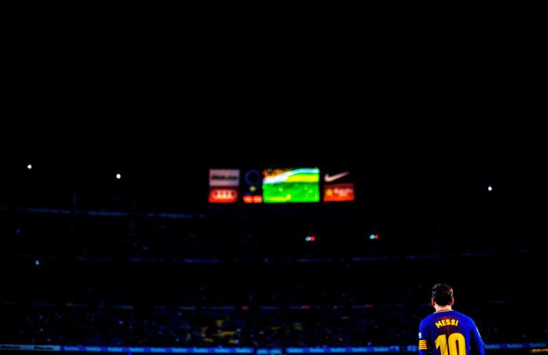 BARCELONA, SPAIN - MAY 09:  Lionel Messi of Barcelona is pictured during the La Liga match between FC Barcelona and Villareal CF at the Camp Nou stadium on May 09, 2018 in Barcelona, Spain.  (Photo by Vladimir Rys Photography/Getty Images)
