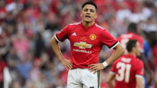 LONDON, ENGLAND - MAY 19: Alexis Sanchez of Manchester Untied during the FA Cup Final between Chelsea and Manchester United at Wembley Stadium on May 19, 2018 in London, England. (Photo by Matthew Ashton - AMA/Getty Images)