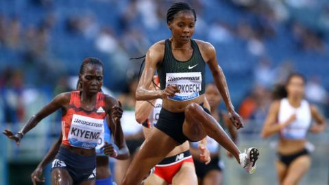 Beatrice Chepkoech (KEN) competes in 3000m Steeplechase women during Golden Gala Iaaf Diamond League Rome 2018 at Olimpico Stadium in Rome, Italy on May 31, 2018. (Photo by Matteo Ciambelli/NurPhoto via Getty Images)