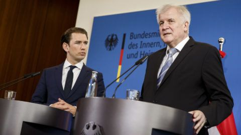 """BERLIN, GERMANY - JUNE 13: Austrian Chancellor Sebastian Kurz (L) and German Interior Minister Horst Seehofer (R) attend a press conference on June 13, 2018 in Berlin, Germany. Both men advocate a more hawkish policy towards migrants that includes refusing entry to those lacking visas or reasonable asylum grounds at the border and sending them back to their initial country of entry into the European Union. Seehofer and German Chancellor Angela Merkel have so far been at odds over this point, which has prevented the rollout of a common """"migration masterplan."""" (Photo by Carsten Koall/Getty Images)"""