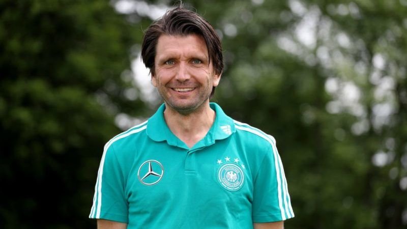 KAMEN, GERMANY - JUNE 16: Peter Hyballa, DFB coach poses during the DFB-Elite-Youth Coach-Training-Workshop at Sportschule Kaiserau on June 16, 2018 in Kamen, Germany. (Photo by Christof Koepsel/Bongarts/Getty Images)