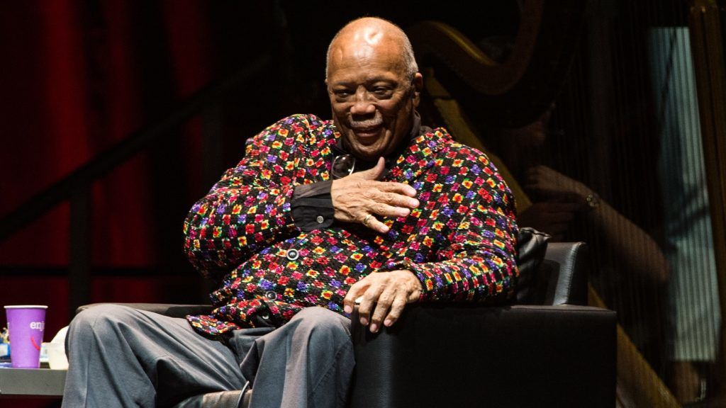 LONDON, ENGLAND - JUNE 27: Quincy Jones at A Life In Song: Quincy Jones, at The O2 Arena on June 27, 2018 in London, England. (Photo by Brian Rasic/WireImage)
