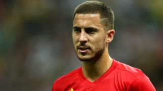 KAZAN, RUSSIA - JULY 06:  Eden Hazard of Belgium looks on during the 2018 FIFA World Cup Russia Quarter Final match between Brazil and Belgium at Kazan Arena on July 6, 2018 in Kazan, Russia.  (Photo by Catherine Ivill/Getty Images)