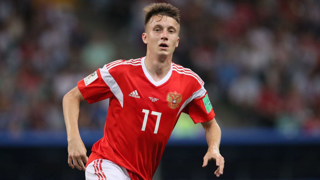 SOCHI, RUSSIA - JULY 07:   Aleksandr Golovin of Russia in action during the 2018 FIFA World Cup Russia Quarter Final match between Russia and Croatia at Fisht Stadium on July 7, 2018 in Sochi, Russia. (Photo by Matthew Ashton - AMA/Getty Images)