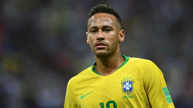 KAZAN,RUSSIA - JULY 6: Neymar Jr of Brazil looks on during the 2018 FIFA World Cup Russia Quarter Final match between Brazil and Belgium at Kazan Arena on July 6, 2018 in Kazan, Russia. (Photo by Etsuo Hara/Getty Images)