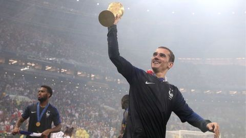 MOSCOW, RUSSIA  JULY 15, 2018: France's Antoine Griezmann lifts the trophy at a victory ceremony after winning their 2018 FIFA World Cup final football match against Croatia at Luzhniki Stadium. Team France won the game 4:2 and claimed the World Cup title. Sergei Bobylev/TASS (Photo by Sergei BobylevTASS via Getty Images)