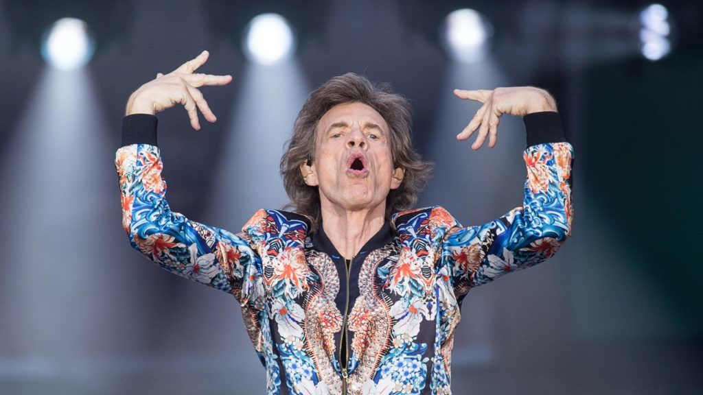"""30 June 2018, Germany, Stuttgart: Singer Mick Jagger on stage at a concert by the Rolling Stones during their European tour """"no filter"""" at the Mercedes Benz-Arena. Photo: Sebastian Gollnow/dpa"""