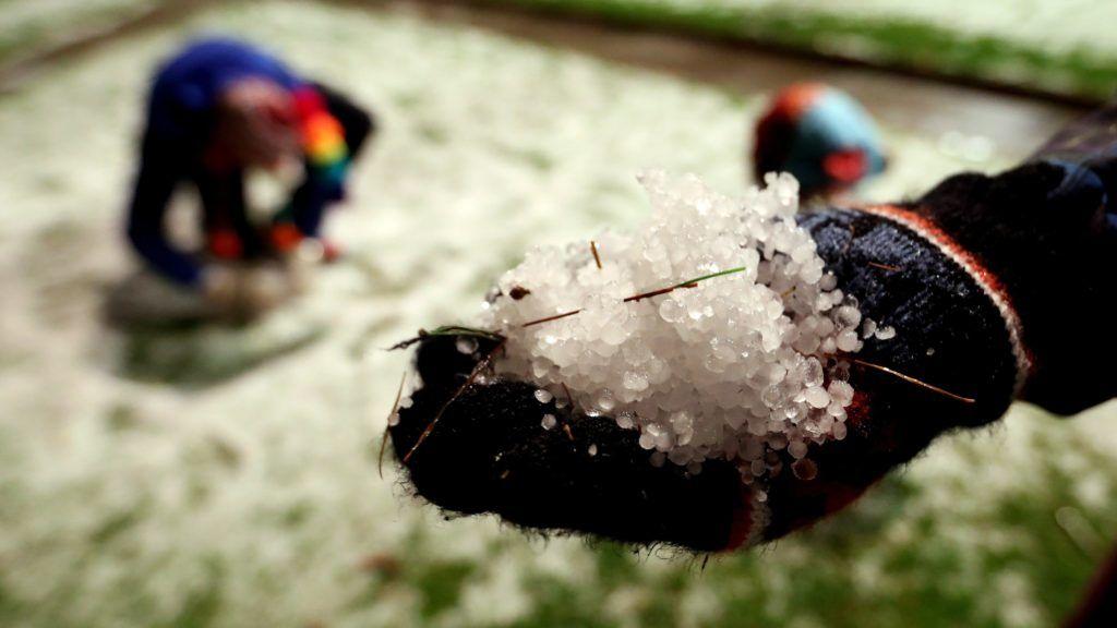 Bogotá, 2017. november 2. Jégdarabok borítják a füvet egy bogotái parkban 2017. november 1-jén, miután jelentõs mennyiségû jégesõ hullott Kolumbia középsõ térségében, fennakadásokat okozva a fõváros közlekedésében. (MTI/EPA/Mauricio Duenas Castaneda)