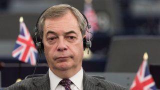 Strasbourg, 2018. január 16.Nigel Farage brit európai parlamenti képviselő, az Európai Uniót ellenző legnagyobb brit párt, az Egyesült Királyság Függetlenség Pártja (UKIP) volt vezetője az Európai Parlament plenáris ülésén Strasbourgban 2018. január 16-án.  (MTI/EPA/Patrick Seeger)