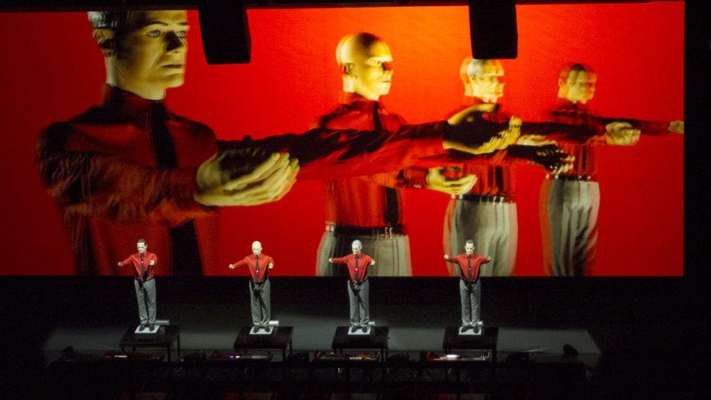 OSLO, NORWAY - AUGUST 05: Kraftwerk perform at Royal Opera on August 5, 2016 in Oslo, Norway. (Photo by Rune Hellestad - Corbis/Corbis via Getty Images)