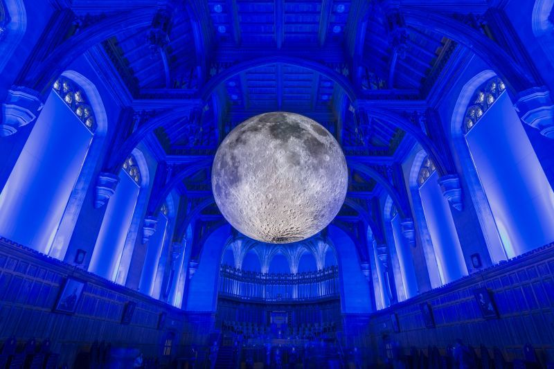 Luke Jerram's Museum of the Moon at the University of Bristol, Bristol, UKA large balloon covered in images of the surface of the moon from NASA has been installed in the Great Hall of the Wills Memorial Building at the University of Bristol by local artist Luke Jerram. The installation is called the Museum of the Moon and is to mark the investiture of the new Chancellor, Sir Paul Nurse.23rd March 2017.Carolyn Eaton/Alamy News Live