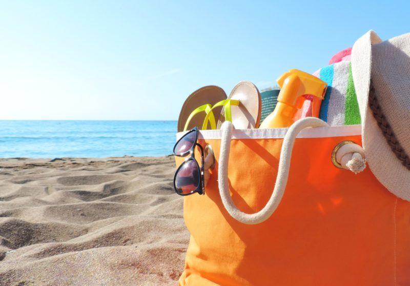 Beach bag and sea