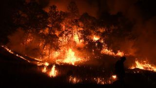 Firefighters conduct a controlled burn to defend houses against flames from the Ranch fire, as it continues to spreads towards the town of Upper Lake, California on August 1, 2018. Thousands of firefighters in California made some progress against several large-scale blazes that have turned around 200,000 acres (80,940 hectares) into an ashen wasteland, destroyed expensive homes, and killed eight fire personnel and civilians in the most populous US state. / AFP PHOTO / Mark RALSTON