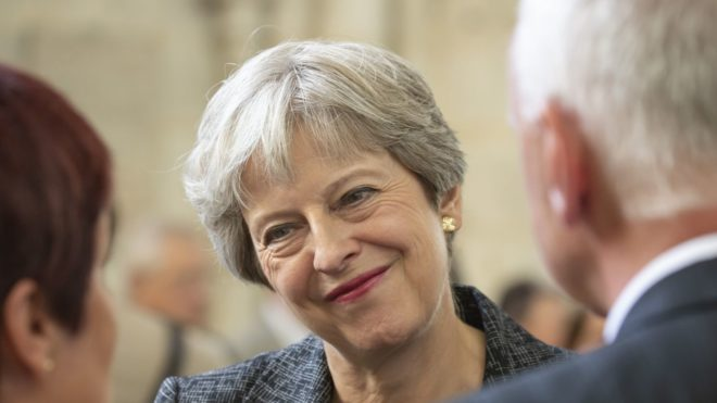 Britain's Prime minister Theresa May attends a religious ceremony to mark the 100th anniversary of the World War I (WW1) Battle of Amiens, at the Cathedral in Amiens, France, August 8, 2018.   The Battle of Amiens sounded the start of the Hundred Days Offensive on the Western Front, which led to the Armistice in November 1918.  / AFP PHOTO / POOL / Sebastien COURDJI