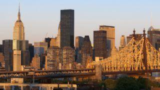 Queensboro Bridge, Manhattan skyline viewed from Queens, New York USA - November 2017 | usage worldwide