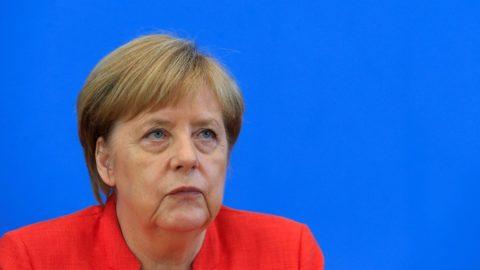 BERLIN, GERMANY - JULY 20: German Chancellor Angela Merkel speaks during her annual press conference at the Federal Press Office (Bundespressekonferenz) on July 20, 2018 in Berlin, Germany. Abdulhamid Hosbas / Anadolu Agency