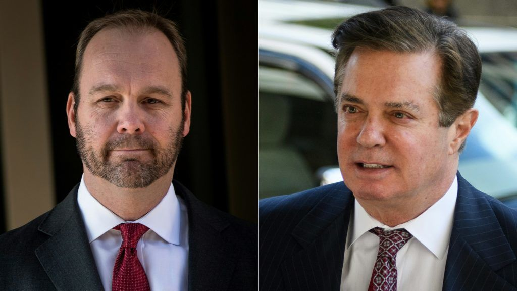(COMBO) This combination of pictures created on August 06, 2018 shows former Trump campaign official Rick Gates leaves Federal Court in Washington, DC. on December 11, 2017 and Paul Manafort arrives for a hearing at US District Court in Washington, DC. on June 15, 2018.  Rick Gates, the prosecution's star witness in the trial of President Donald Trump's former campaign chief Paul Manafort, testified Monday August 6, 2018, that he conspired with his ex-boss to hide millions of dollars in foreign bank accounts from US tax authorities. / AFP PHOTO / Brendan Smialowski AND MANDEL NGAN