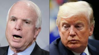 (COMBO) This combination of pictures created on August 24, 2018 shows US Senator John McCain and US President Donald Trump. One of John McCain's final wishes, as he struggled against a devastating brain cancer, could not have been more clear: He made it known that he did not want Donald Trump to attend his funeral. US senator John McCain, a celebrated war hero known for reaching across the aisle in an increasingly divided America, died Saturday after losing a battle to brain cancer, his office said. He was 81. / AFP PHOTO / BRENDAN SMIALOWSKI AND MANDEL NGAN