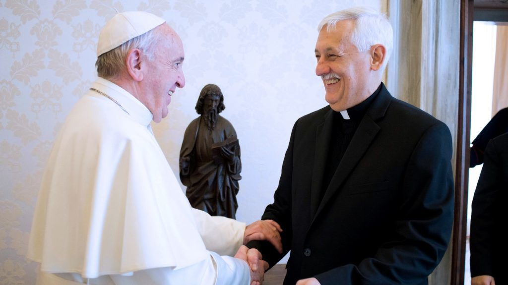 """This handout photo taken on February 9, 2017 and released by the Vatican press office, Osservatore Romano shows Pope Francis (L) as he meets with  Arturo Sosa Abascal, (2L) superior general of the Society of Jesus at the Vatican.  / AFP PHOTO / OSSERVATORE ROMANO / OSSERVATORE ROMANO / RESTRICTED TO EDITORIAL USE - MANDATORY CREDIT """"AFP PHOTO / OSSERVATORE ROMANO """" - NO MARKETING NO ADVERTISING CAMPAIGNS - DISTRIBUTED AS A SERVICE TO CLIENTS"""