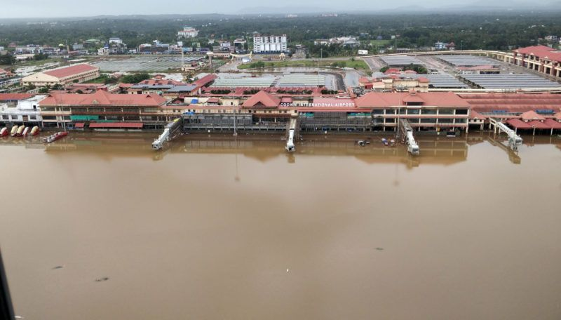 An aerial view of the submerged Kochi International airport, following monsoon rains in Kerala on August 18, 2018. The Times of India/R K Sreejith.
