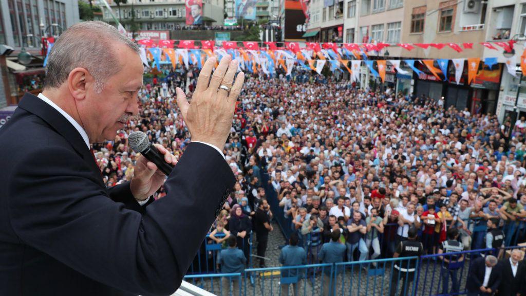 RIZE, TURKEY - AUGUST 11 : Turkish President Recep Tayyip Erdogan addresses people in Rize, Turkey on August 11, 2018. Cem Oksuz / Anadolu Agency