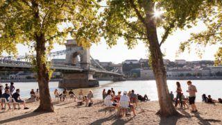 Beach bar at Danube Riverwalk, Chain Bridge, Budapest, Hungary, Europe
