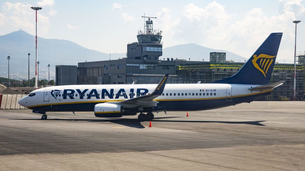 """Ryanair low cost airline as seen in Thessaloniki's international airport """"Makedonia"""". Ryanair uses SKG airport as a hub with local crew. The airline operates currently 464 Boeing 737-800 and has an order for 16 same airplanes and 135 Boeing 737 MAX 8. July 28, 2018 - Thessaloniki, Greece (Photo by Nicolas Economou/NurPhoto)"""