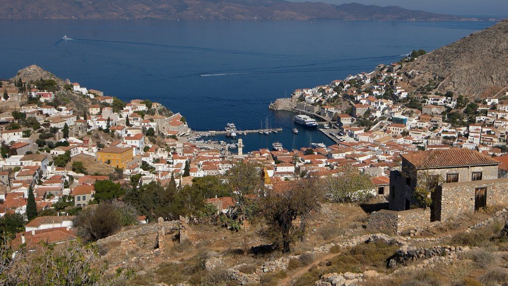 General view of the harbor of Hydra, Greece, on October 22, 2017. The distance from Piraeus to the capital of the island of Idra is 37 nautical miles (68 km) (Photo by Danil Shamkin/NurPhoto)