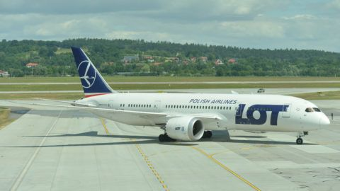 A view of Boeing 787 Dreamliner arriving from Chicago, on the day of the inauguration of Krakow-Chicago new connection operated by PLL LOT, at John Paul II International Airport Krakow–Balice. On Monday, July 3, 2017, in Krakow, Poland. (Photo by Artur Widak/NurPhoto)