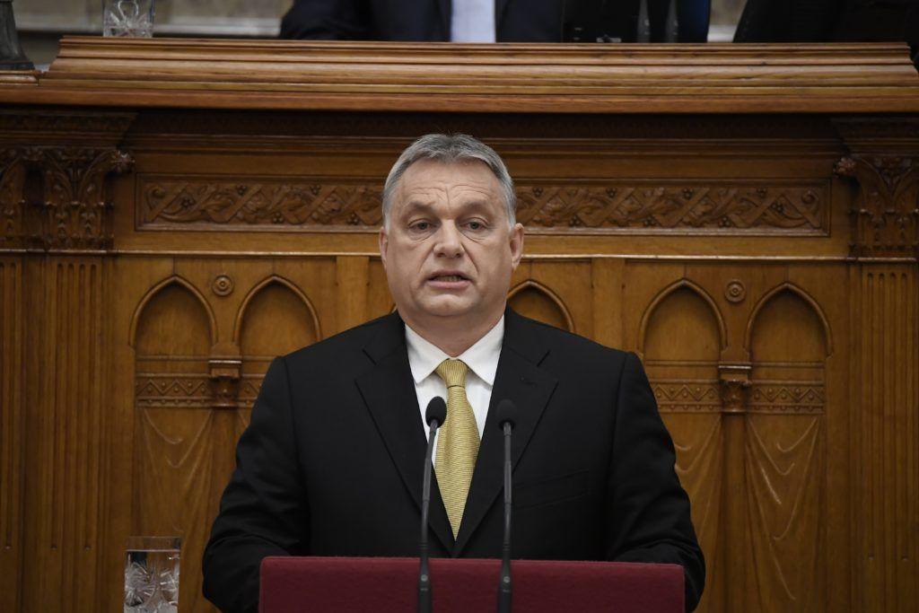Budapest, 2018. május 10. Orbán Viktor miniszterelnök beszédet mond az ünnepélyes eskütétele után az Országgyûlés plenáris ülésén 2018. május 10-én. MTI Fotó: Kovács Tamás