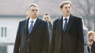 Brdo pri Kranju, 2016. január 22.Orbán Viktor magyar és Miro Cerar szlovén miniszterelnök (b-j) érkezik a két kormány együttes ülésére a szlovéniai Brdo pri Kranjuban 2016. január 22-én.MTI Fotó: Varga György