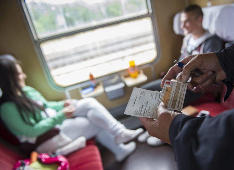 Békéscsaba, 2013. május 22. Nagyné Simon Margit vezetõ jegyvizsgáló jegyeket ellenõriz a Budapest-Békéscsaba között közlekedõ gyorsvonaton 2013. május 22-én. A MÁV május közepétõl gyorsvonati felárat vezetett be egyes gyors- és sebesvonatokon. Az érintett járatokra kötelezõ lesz pótjegyet váltani. MTI Fotó: Rosta Tibor