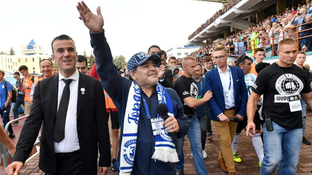 BREST, BELARUS  JULY 16, 2018: Football fans greet retired Argentinian footballer Diego Maradona (C), appointed FC Dynamo Brest chairman. Viktor Drachev/TASS (Photo by Viktor DrachevTASS via Getty Images)