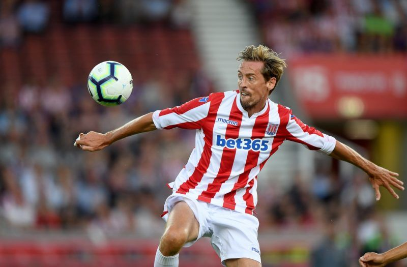 STOKE ON TRENT, ENGLAND - JULY 25: Peter Crouch of Stoke City during the Pre-Season Friendly match between Stoke City v Wolverhampton Wanderers at Bet365 Stadium on July 25, 2018 in Stoke on Trent, England. (Photo by Sam Bagnall - AMA/Getty Images)