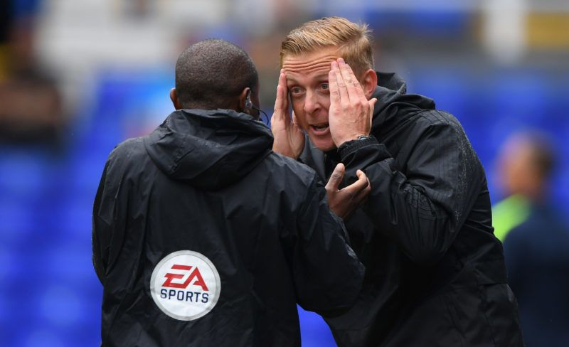 BIRMINGHAM, ENGLAND - JULY 28:  Birmingham manager Garry Monk reacts to 4th official Michael D'Aguilar during the friendly match between Birmingham City and Brighton and Hove Albion at St Andrew's Trillion Trophy Stadium on July 28, 2018 in Birmingham, England.  (Photo by Stu Forster/Getty Images)