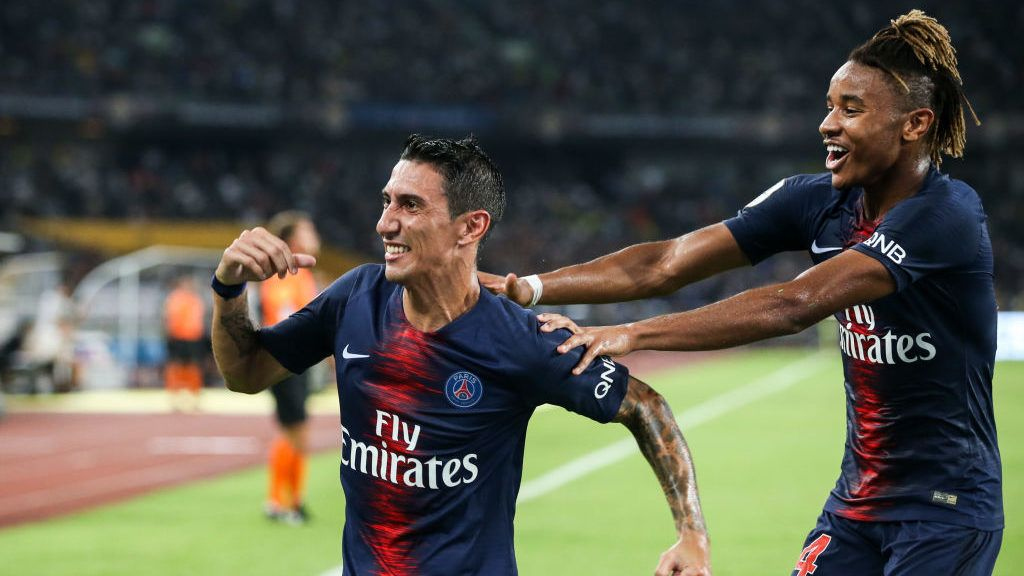 SHENZHEN, CHINA - AUGUST 04:  #11 Angel Di Maria of Paris Saint-Germain celebrates his scoring during the match between Paris Saint Germain and Monaco at Shenzhen Longgang Sports Center on August 4, 2018 in Shenzhen, China.  (Photo by Zhizhao Wu/Getty Images)