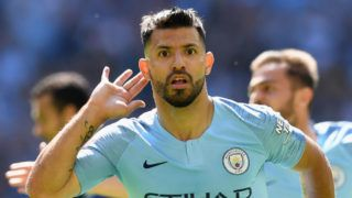 LONDON, ENGLAND - AUGUST 05:  Sergio Aguero of Manchester City celebrates scoring his side's first goal during the FA Community Shield between Manchester City and Chelsea at Wembley Stadium on August 5, 2018 in London, England.  (Photo by Michael Regan/Getty Images)