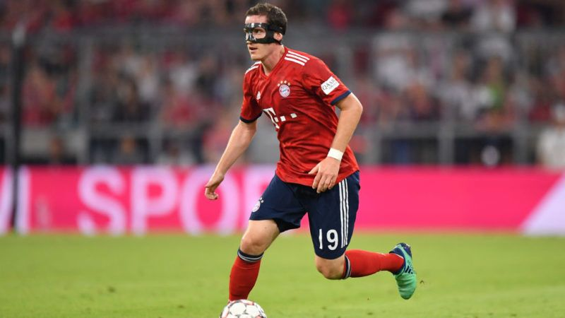 MUNICH, GERMANY - AUGUST 05: Sebastian Rudy of Bayern Muenchen plays the ball during the friendly match between Bayern Muenchen and Manchester United at Allianz Arena on August 5, 2018 in Munich, Germany. (Photo by Sebastian Widmann/Bongarts/Getty Images)