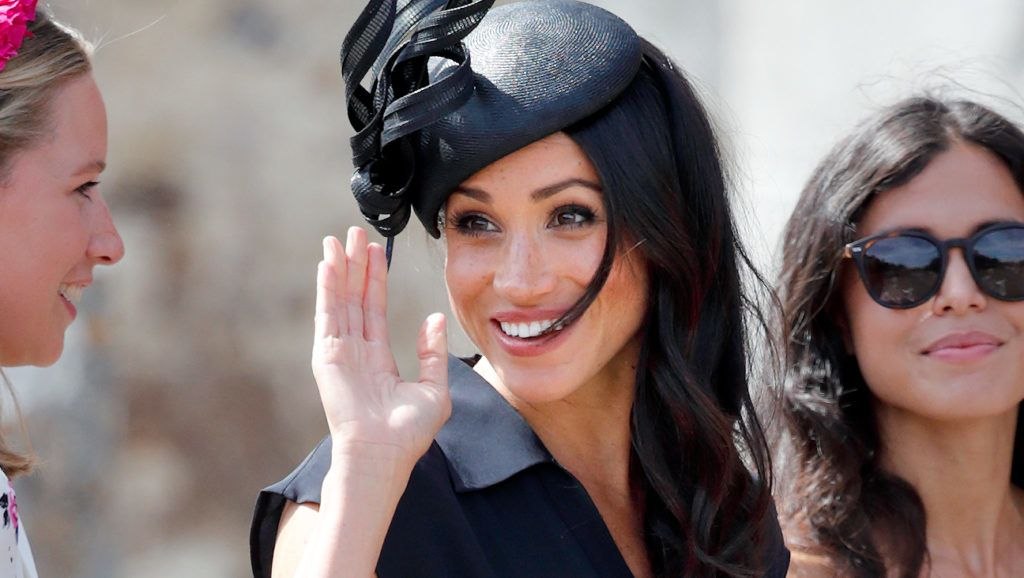 FRENSHAM, UNITED KINGDOM - AUGUST 04: (EMBARGOED FOR PUBLICATION IN UK NEWSPAPERS UNTIL 24 HOURS AFTER CREATE DATE AND TIME) Meghan, Duchess of Sussex attends the wedding of Charlie van Straubenzee and Daisy Jenks at the church of St Mary the Virgin on August 4, 2018 in Frensham, England. Prince Harry attended the same prep school as Charlie van Straubenzee and have been good friends ever since. (Photo by Max Mumby/Indigo/Getty Images)